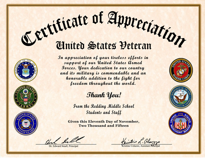 High School Reunion Veterans Appreciation Certificate - sample school certificate