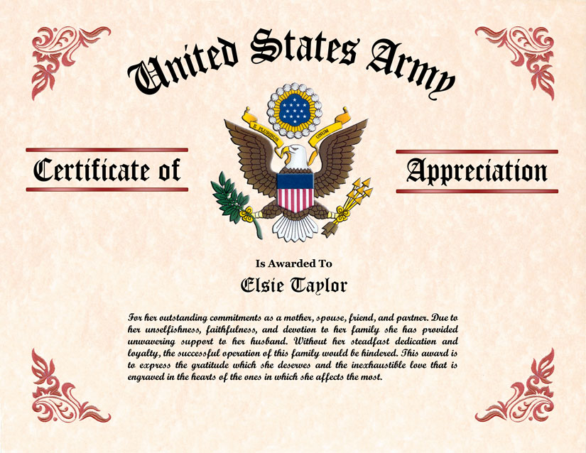 Military Wife and Family Certificate of Appreciation - certificate of appreciation words