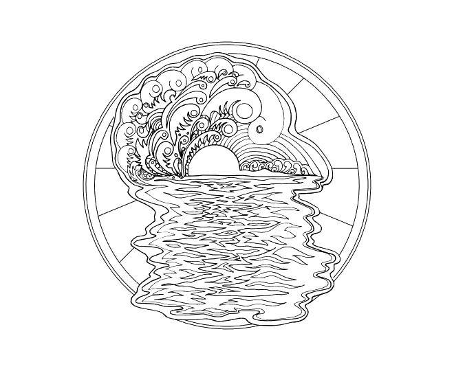 Online coloring pages Coloring page A patterned sunrise coloring