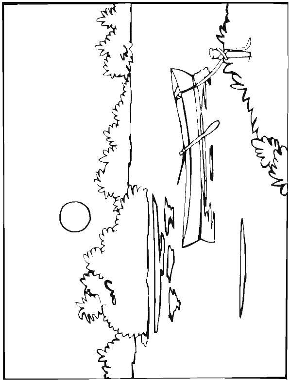 Online coloring pages sunrise, Coloring page Sunrise over the lake