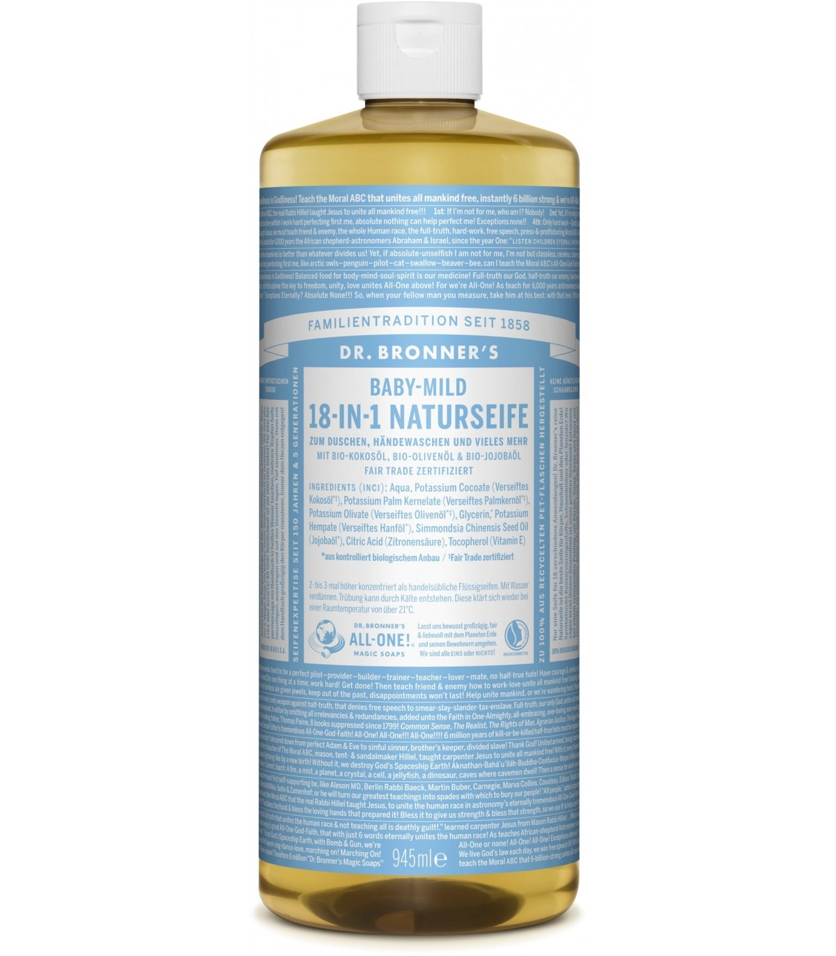 Baby Unscented Liquid Soap Dr Bronner S 945ml