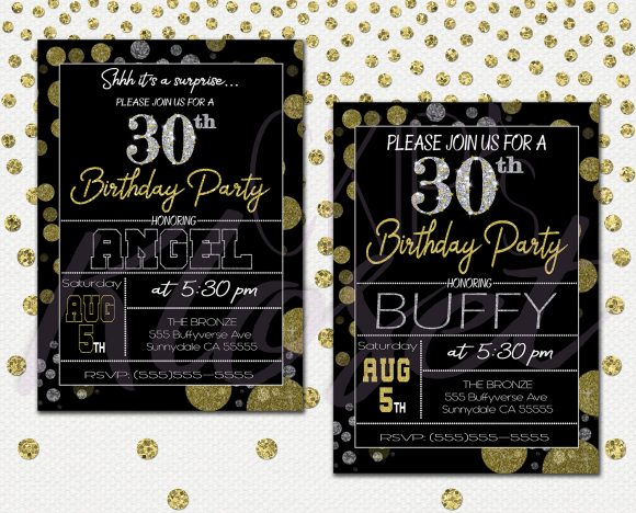 Surprise 30th Birthday Invitations for Him or Her \u2013 Mens Or Womens