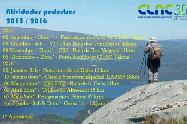 informações das actividades pedestres 2016/2017