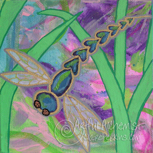 """""""Dragonfly Garden"""" Collection. Panel 3 of 4, acrylic on 6"""" x 6"""" x 1 1/2"""" deep stretched canvas."""