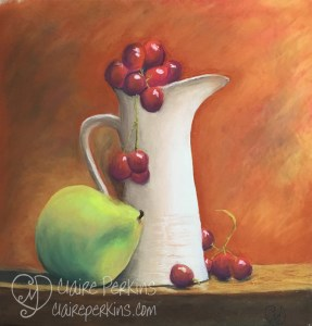 """Still Life With Pear and Grapes"" 17"" x 17"" Pastel on Sanded Paper"