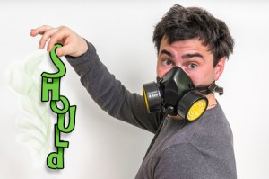 78144549 - man with gas mask is holding stinky sock - unpleasant smell concept