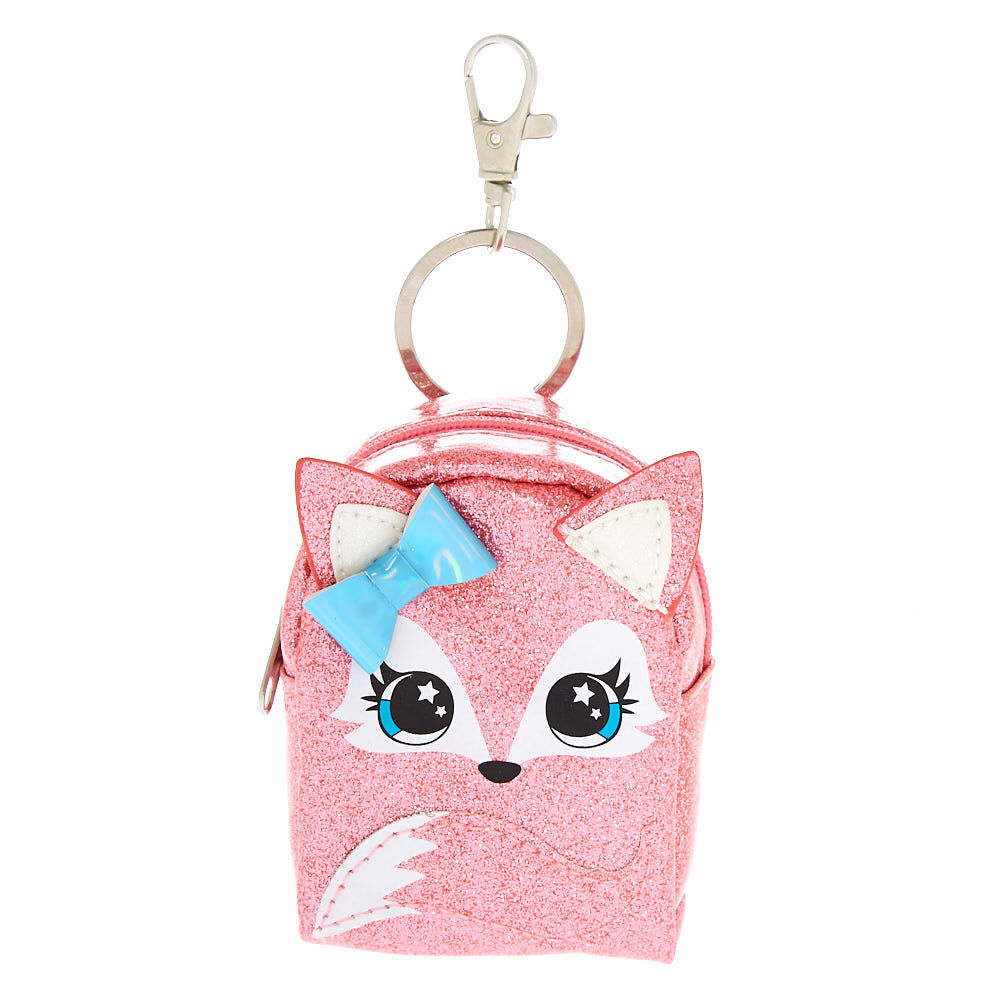 Porte Clef Original Design Pink Fox Mini Backpack Keychain Pink