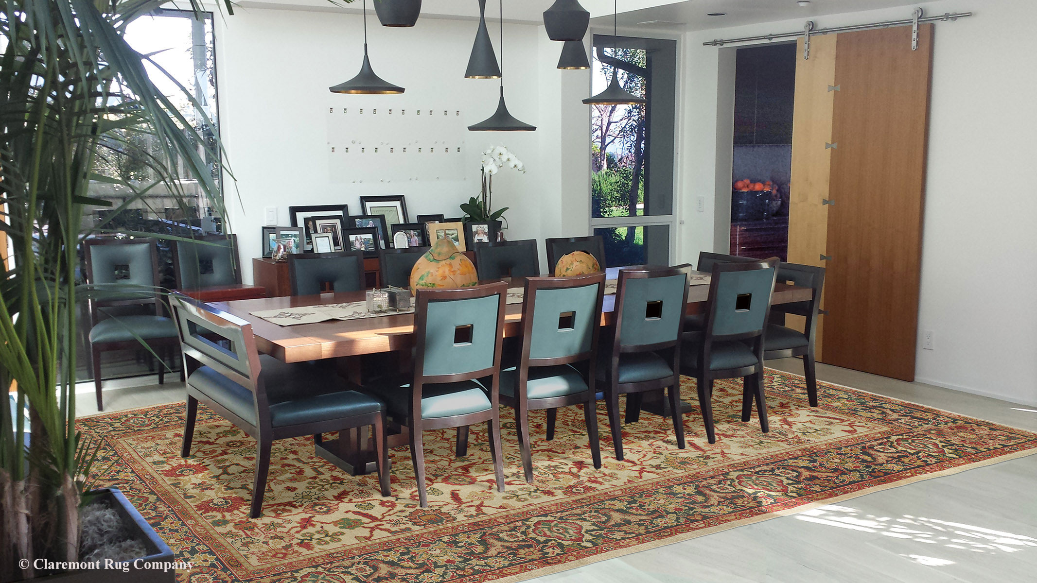 Dining Room Carpet Antique Sultanabad Carpet Brightens A Modern Dining Room