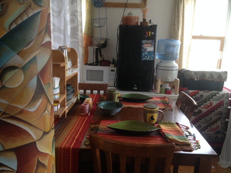 """Clarissa's Kitchenette"" includes the basics:  microwave, Fridge, Water with table and chairs!"