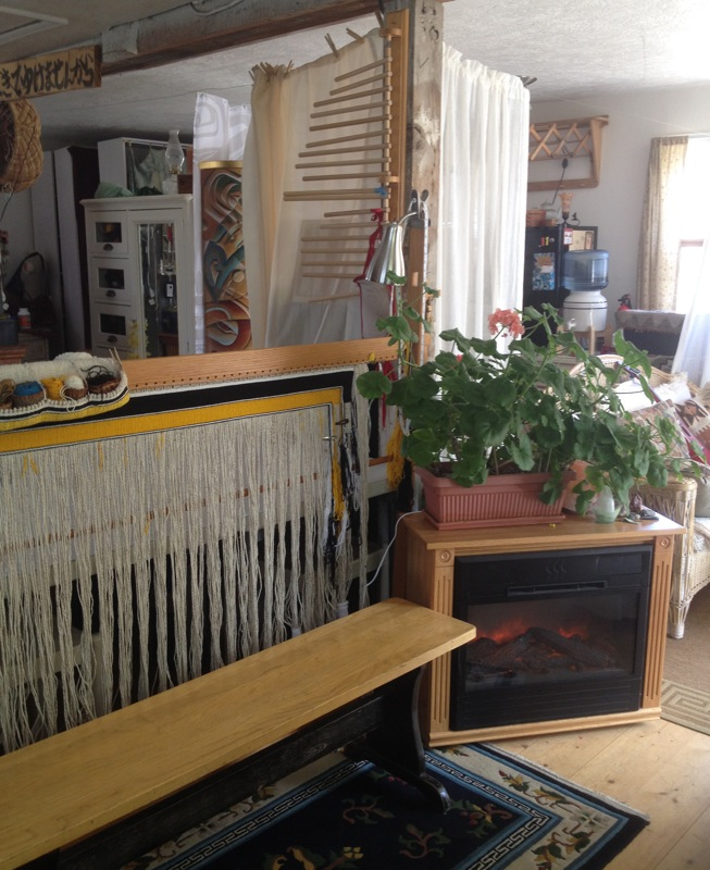 Clarissa's weaving area from the perspective of her office
