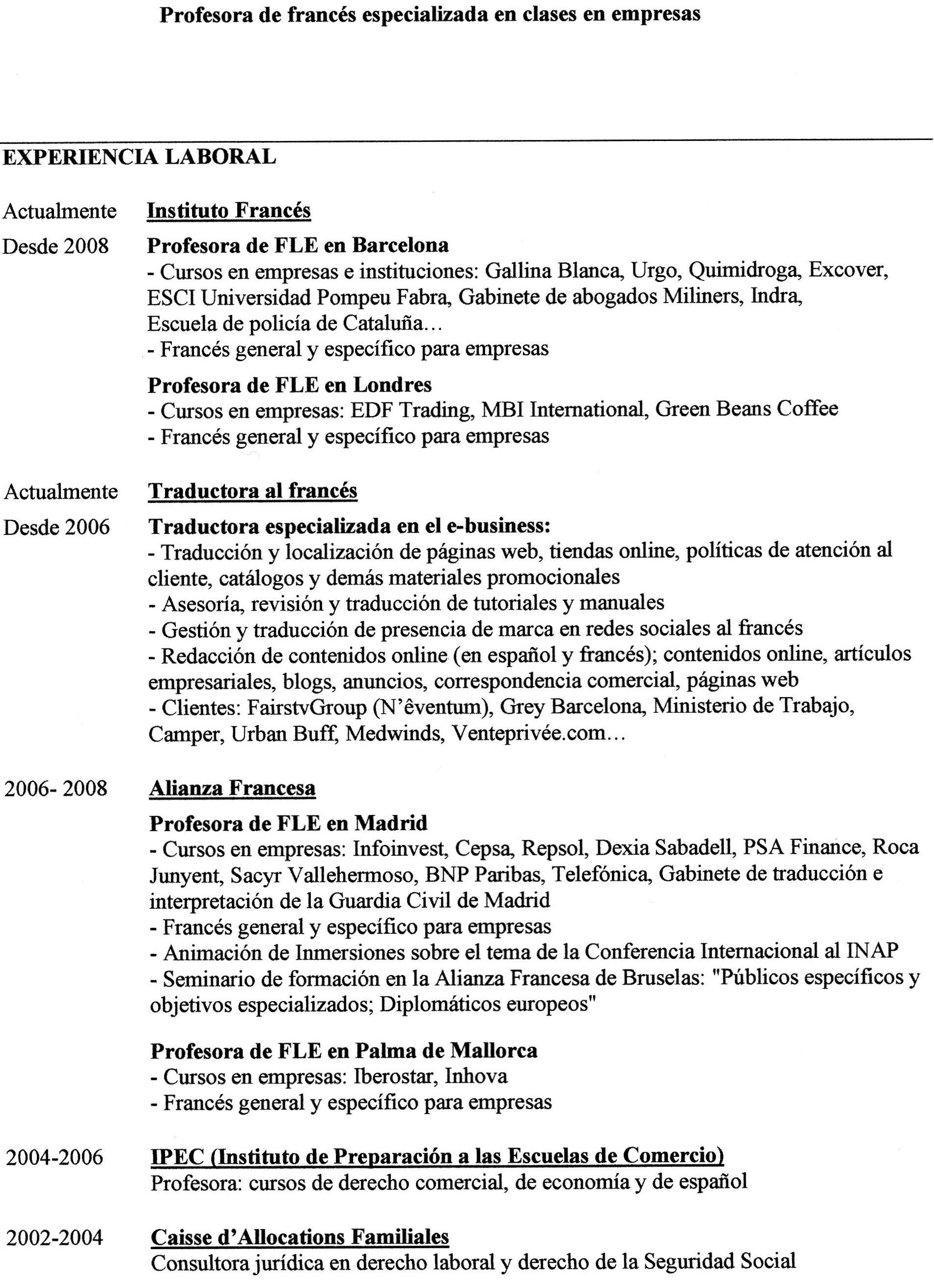 cv profesor frances