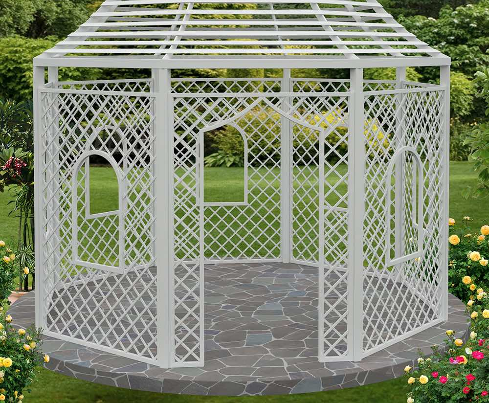 The Zweibrueck Wrought Iron Gazebo 527cm High Landmark - Rosenpavillon Metall