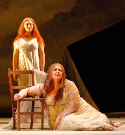 Ariadne (soprano Marjorie Owens) and her Nymph (soprano Joanna Mongiardo)    Jeffrey Dunn for Boston Lyric Opera