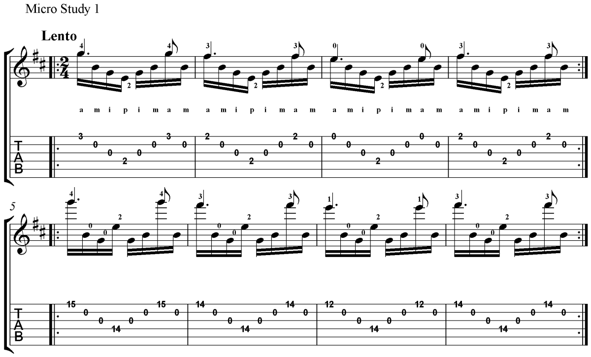 Classical Guitar Method Barrios Prelude Micro Study 1