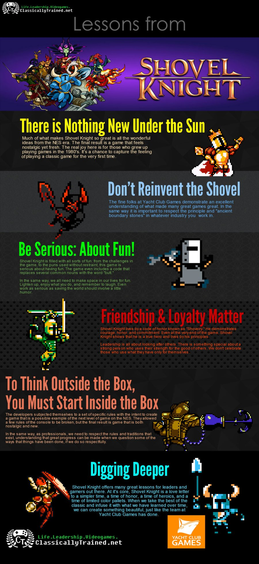 Lessons from Shovel Knight infographic allegamy