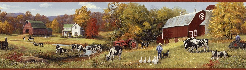 Fall Deer And Farm Scene Wallpaper Border Wallpaper Border Cow Pasture Red Barns Farm Country