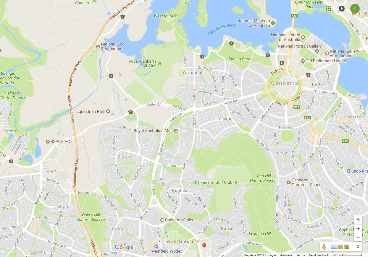Map Of Canberra Federal Golf Club And Royal Canberra Map Image