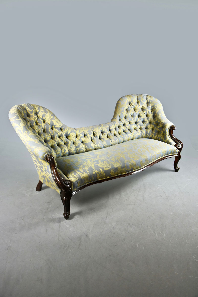 Chaise Spoon Victorian Double Spoon Back Blue Gold Buttoned Upholstered