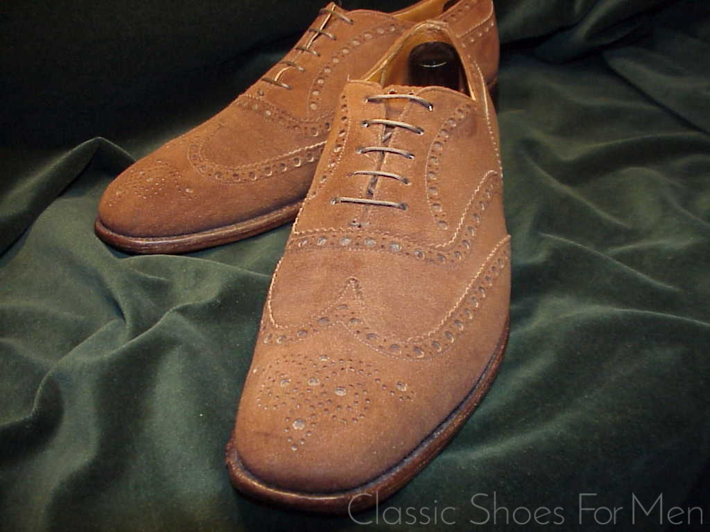 Schuhe Oxford Churchs Custom Grade Cape Buck Suede Full Brogue Oxford