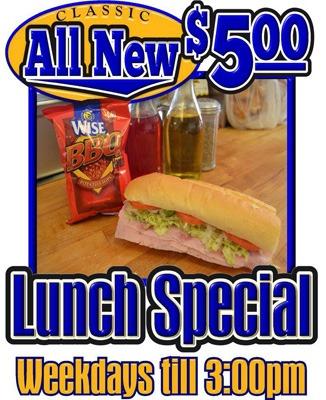 $5.00 special! weekdays until 3PM