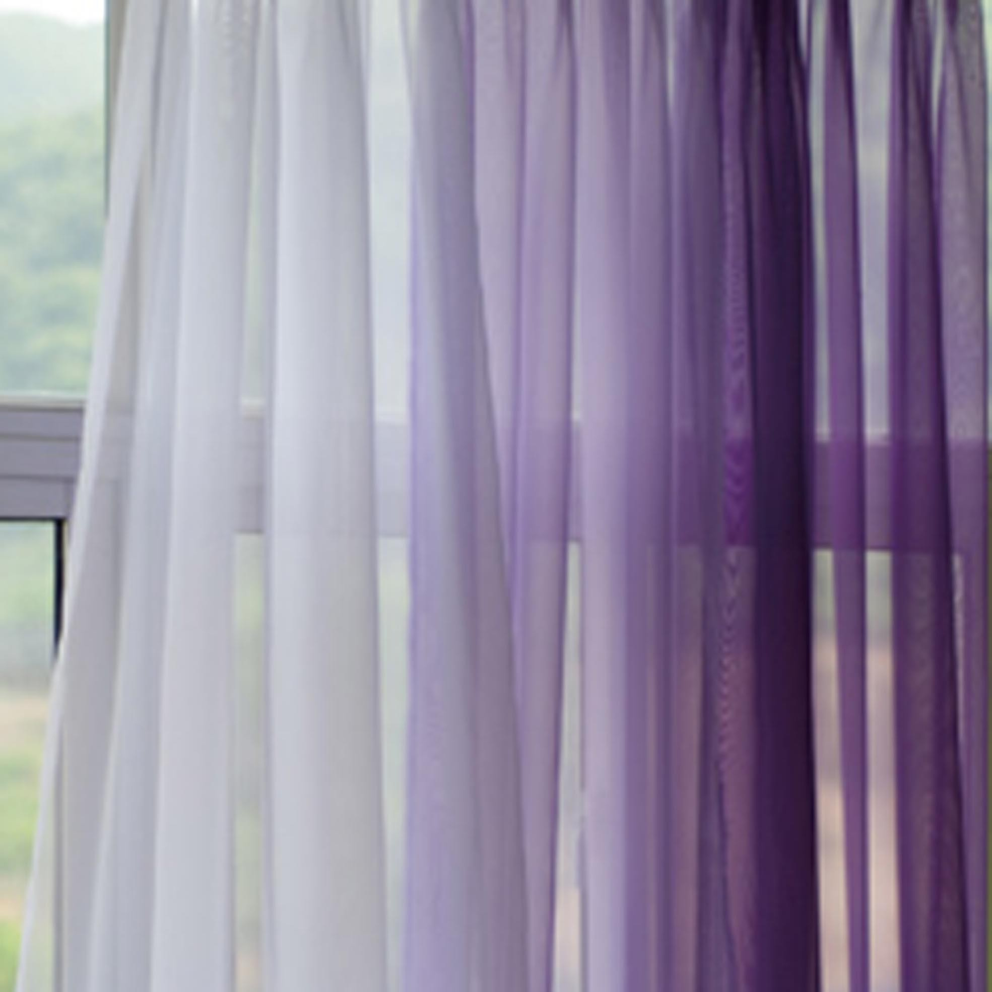Lavender Sheer Curtains Filder Lavender Gradient Panel Set
