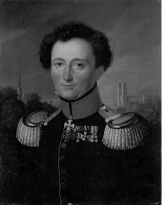 A reproduction of Wilhelm Wach's portrait of Clausewitz