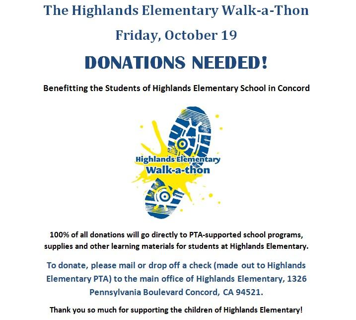Big  Healthy Walk-a-Thon Fundraiser at Highlands Elementary School