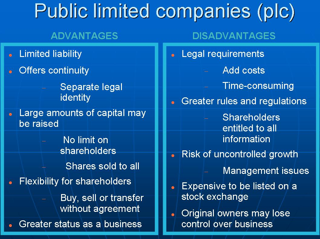 Image For Advantages And Disadvantages Of Public Limited Company