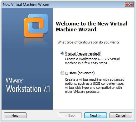 New Virtual Machine with Typical Configuration in VMware Workstation 7.1