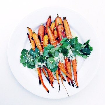 roasted carrots with yogurt and cilantro