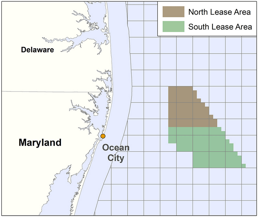 Maryland offshore wind north and south lease areas chart. (Credit: BOEM) Click to enlarge.