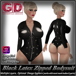 GD Latex Zipped Bodysuit Black