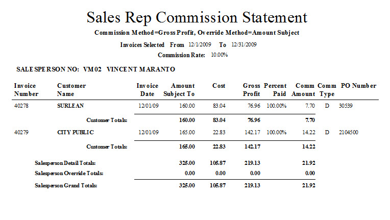 Commission Summary Statement CommTrack