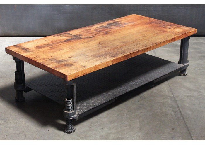Wood Top Adjustable Steel Base Coffee Table