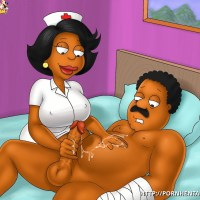 Donna Tubbs is nurse so this is her duty to save Cleveland from his balls getting overfilled with semen...