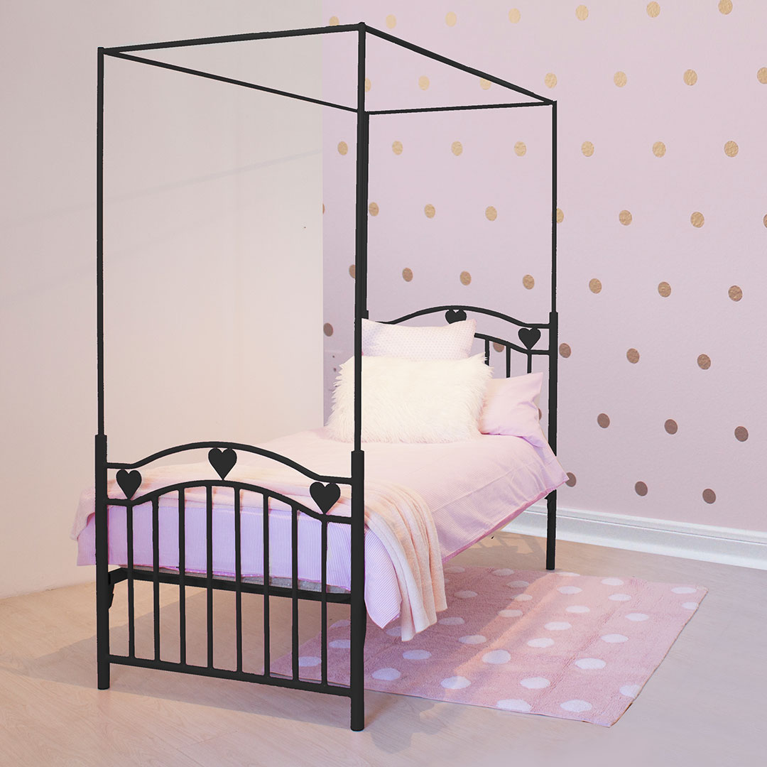 Single Four Poster Bed Leah Heart Metal Canopy Single Bed Black