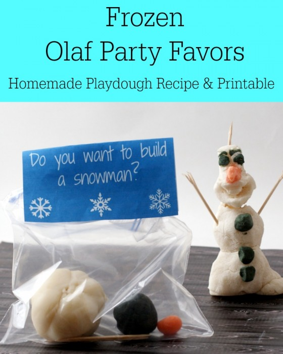 Frozen Olaf Party Favors (Homemade Playdough Recipe and Printable