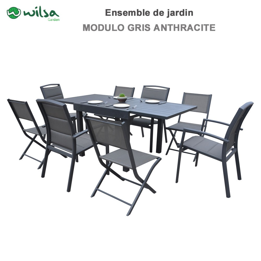 Salon De Jardin 8 Places Salon De Jardin Modulo 4 8 Places Gris Anthracite