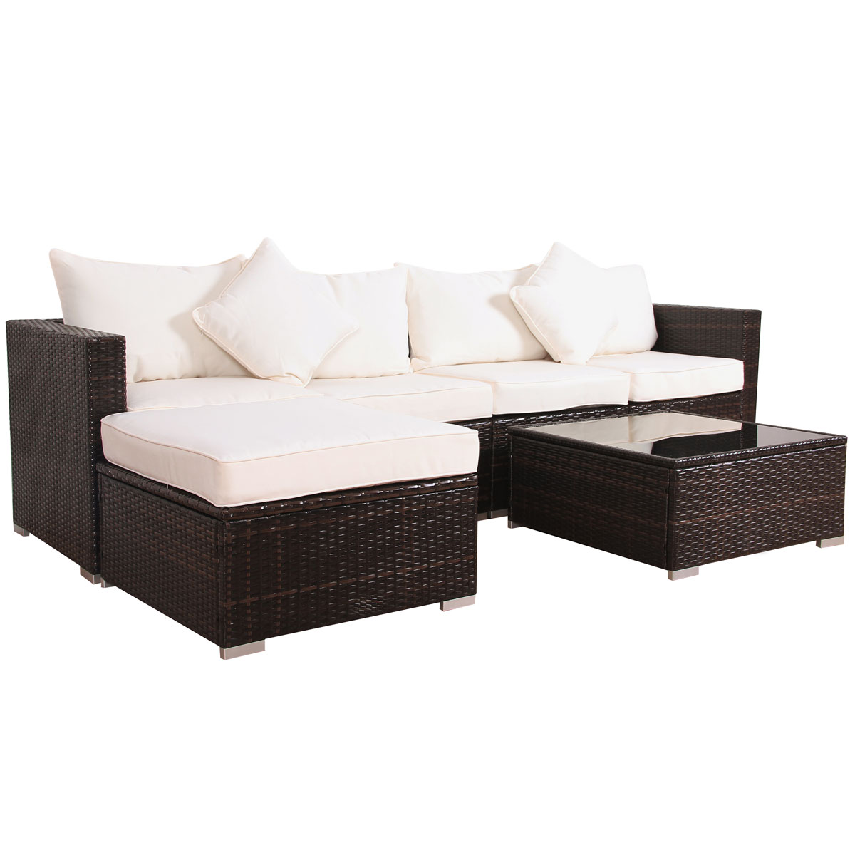 Balkonmobel Couch Garten Lounge Ecksofa Gartenmobel Set Polyrattan