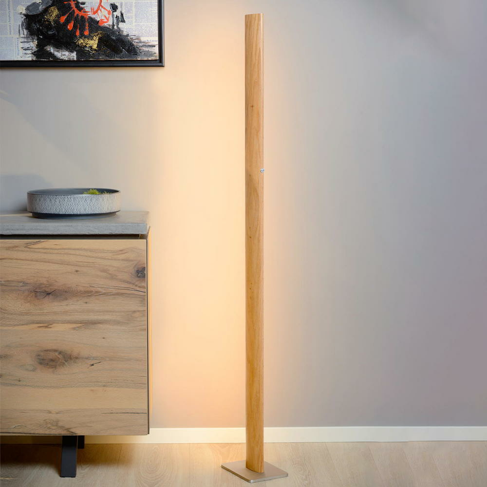 Stehlampe Dimmbar Led Stehleuchte Aus Hellem Holz Dimmbar