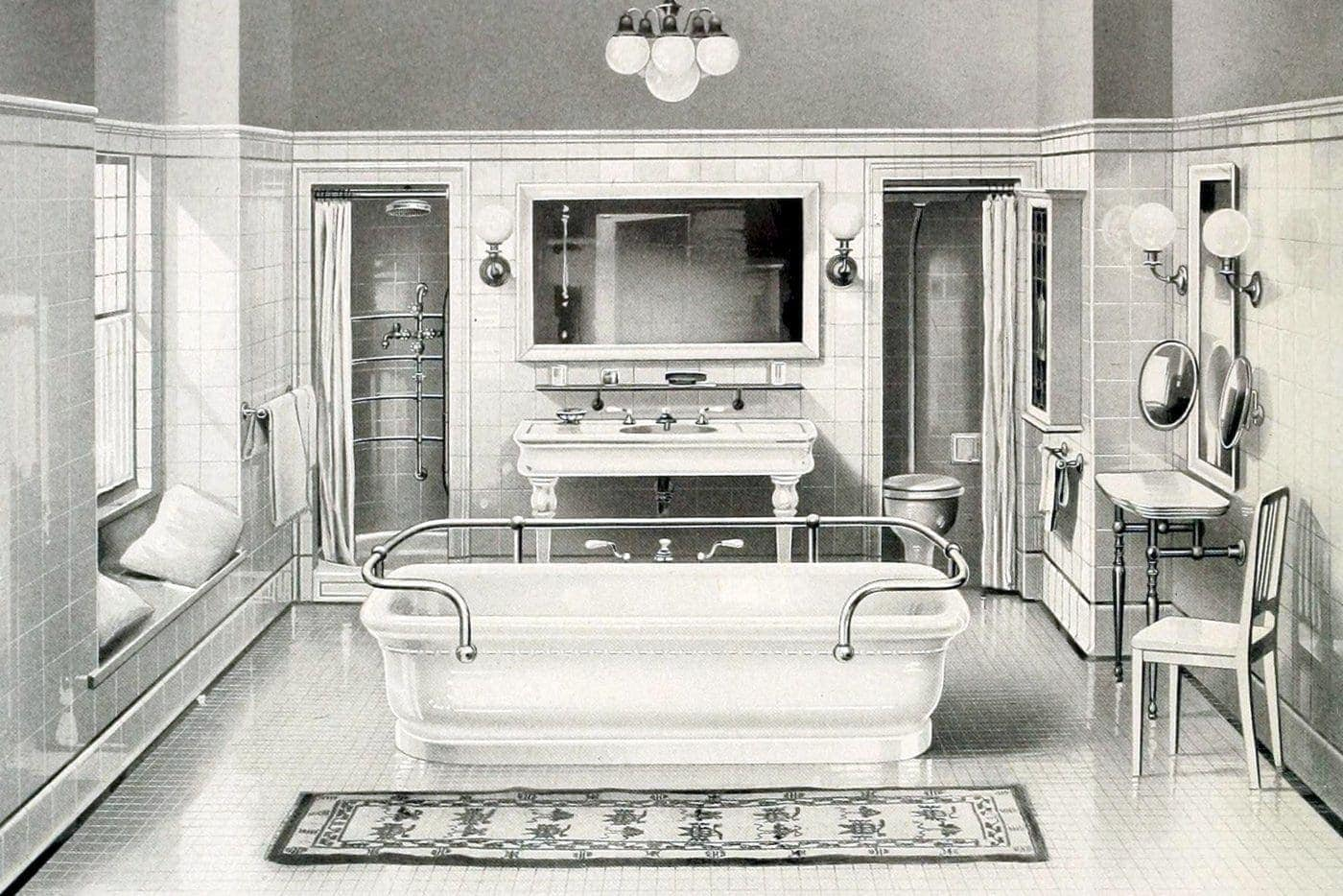 20 Elegant Antique Bathrooms From The 1900s Sinks Tubs Tile Decor Click Americana