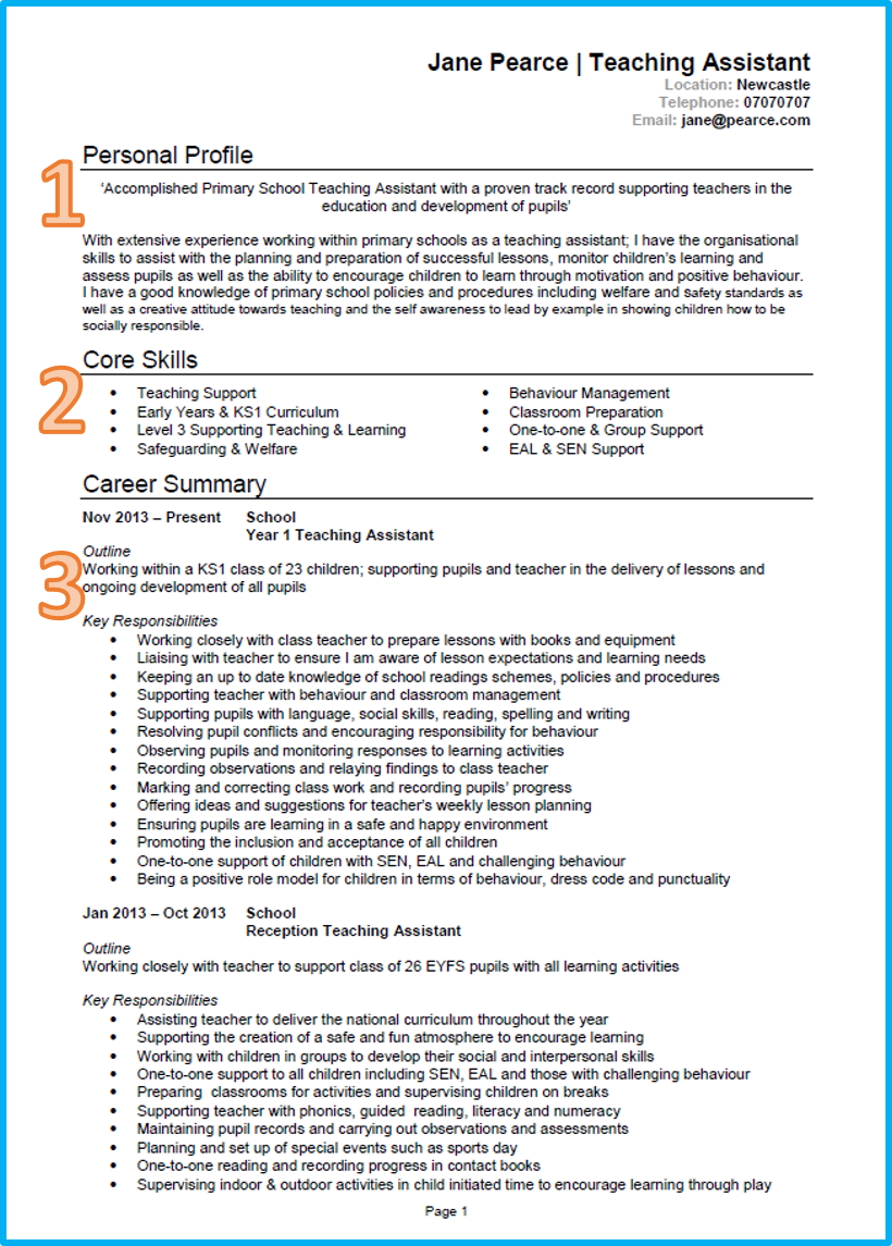 what a good cv looks like example