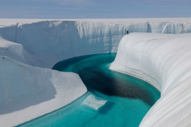 Photograph of Greenland's melting glaciers by James Balog, from Chasing Ice, Rizzoli.