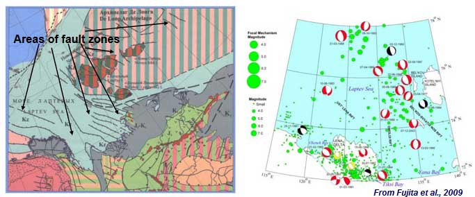 Most of the ESAS area is affected by tectonic and seismic activities