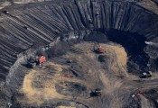 Aerial view of Syncrude Aurora tar sands mine in the Boreal Forest north of Fort McMurray Greenpeace by  Jiri Rezac