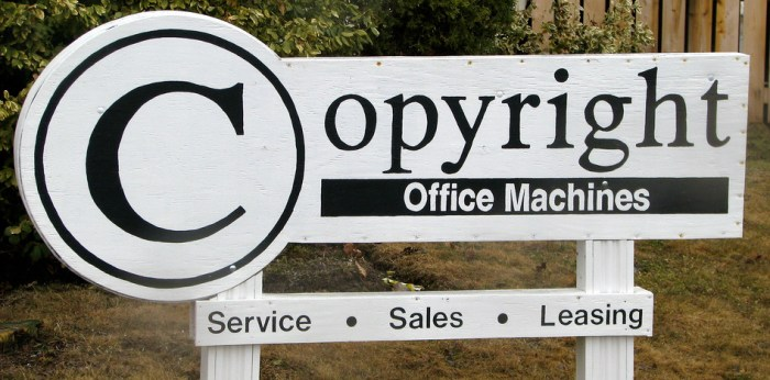 Ironic sign post for company called Copyright