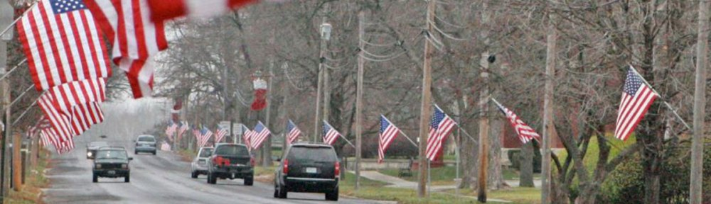 Flags along West Clay Avenue in Plattsburg