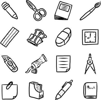 Vector Clip Art Black And White Stationary Sketch Coloring Page