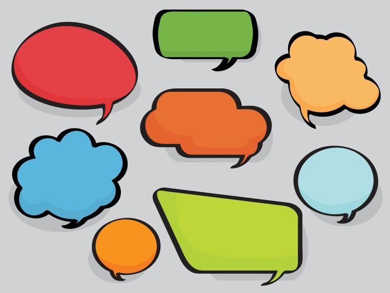 Speech Bubbles Powerpoint Theme Powerpoint Templates - Aqua / Cyan