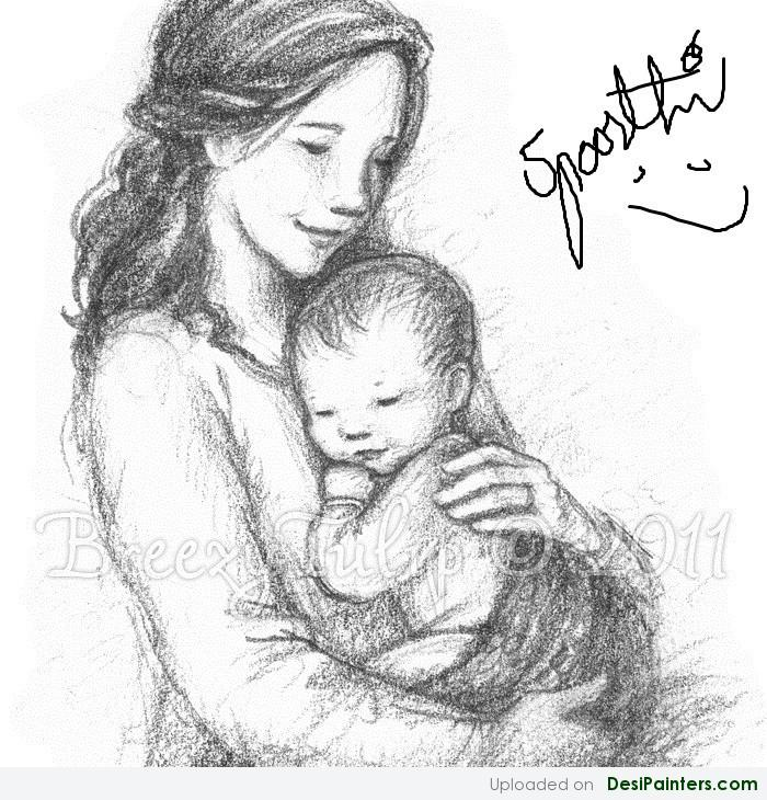 Free Indian Mother With Baby Drawing, Download Free Clip Art, Free